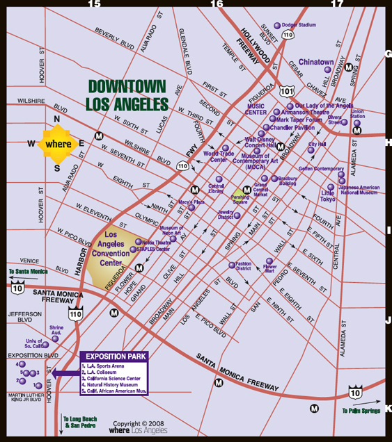 Downtown LA Map | Where Magazine Downtown Los Angeles Map