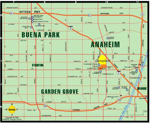 small map of Anaheim + Garden Grove + Buena Park