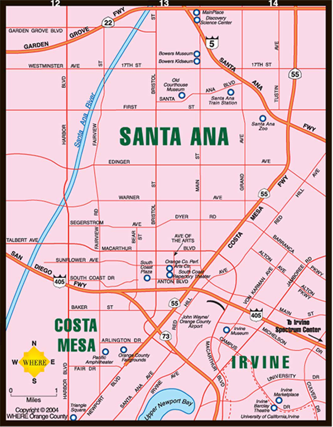 Santa Ana Map Map of Costa Mesa, Irvine, Santa Ana