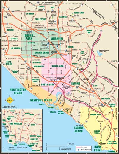Los Angeles Orange County Map