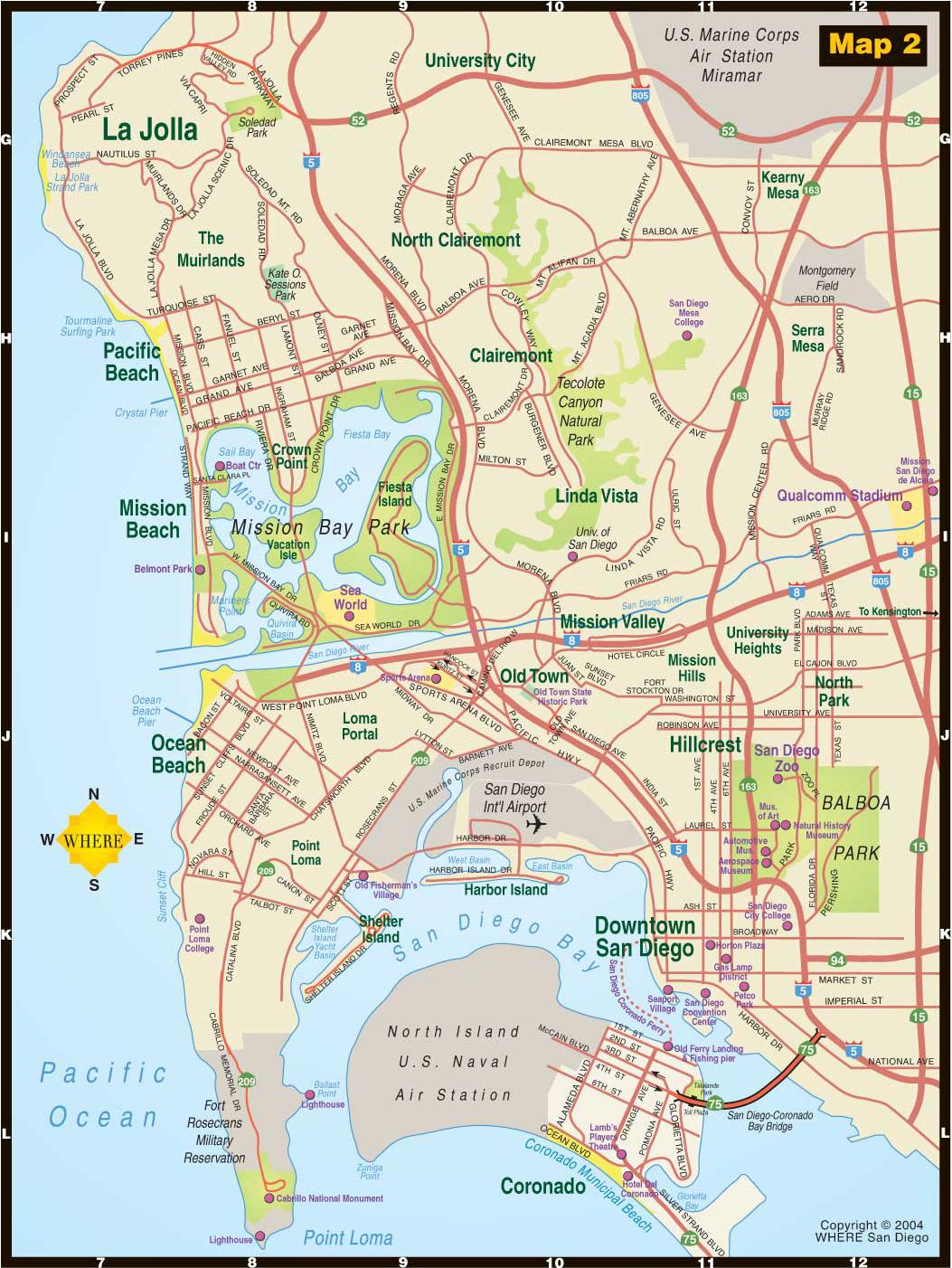 SAN DIEGO MAP   Map of San Diego