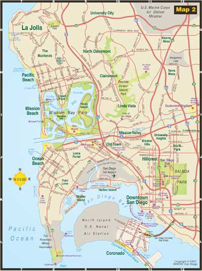 small map of Mission Beach + Pacific Beach + Ocean Beach