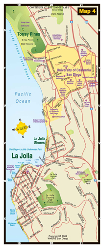 small map of Torrey Pines and La Jolla