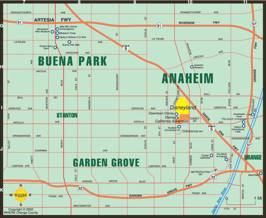 Anaheim California Map Map of Anaheim, Buena Park, Garden Grove Anaheim California Map