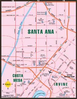 small map of Costa Mesa + Santa Ana + Irvine