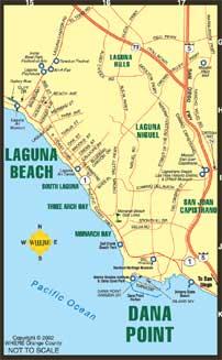 small map of Costa Mesa + Santa Ana + Irvine