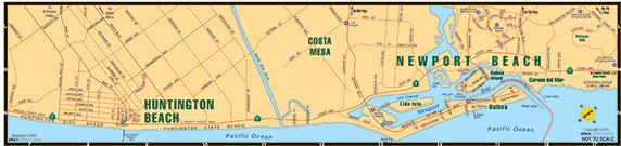 small map of Huntington Beach + Newport Beach