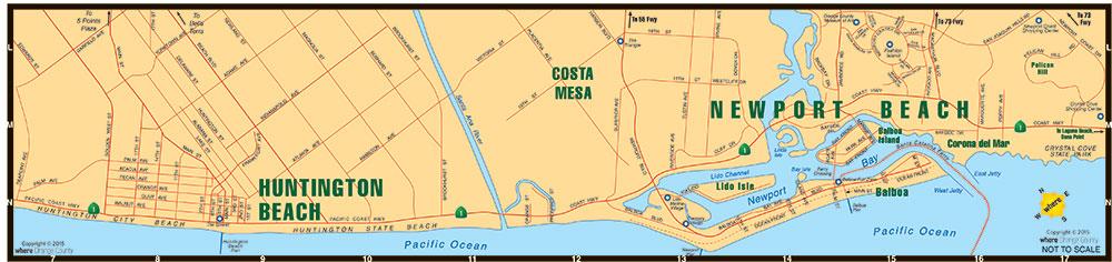 Map of Newport Beach Huntington Beach