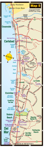 small map of Oceanside + Carlsbad + Encinitas + Del Mar
