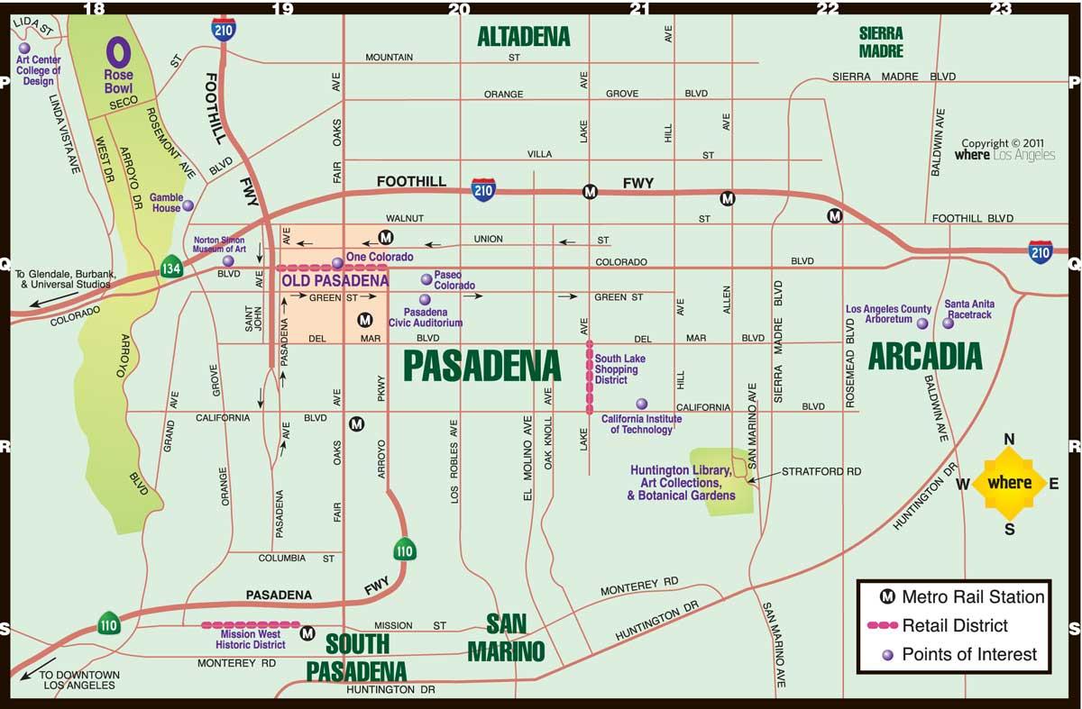 Map Of Pasadena Ca Pasadena Map