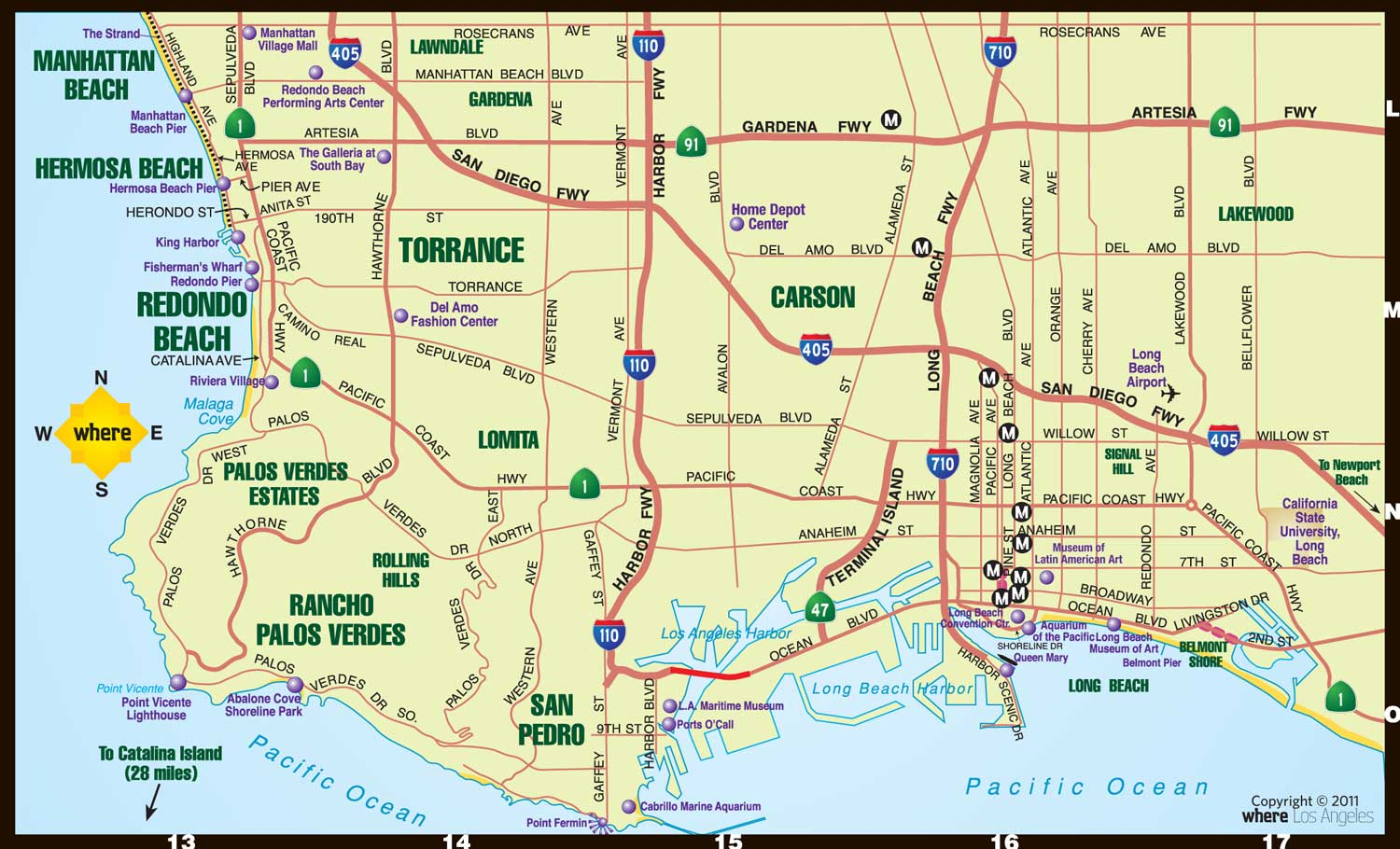 Map Of La Area Southbay Map