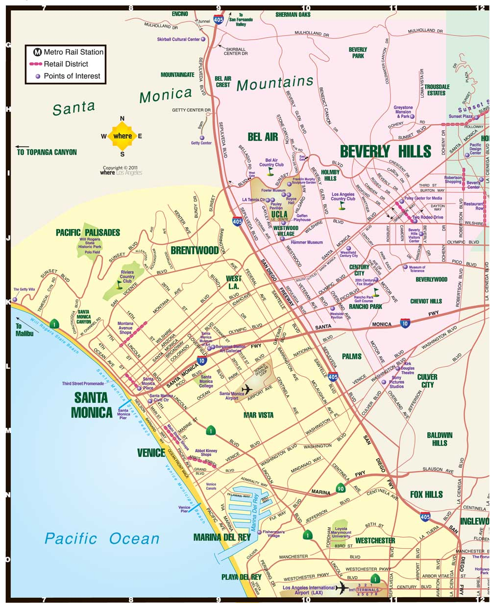 Map Of California La.West La Map Santa Monica Map