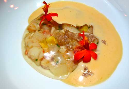 saam at the bazaar Lobster, dashi and white truffles.