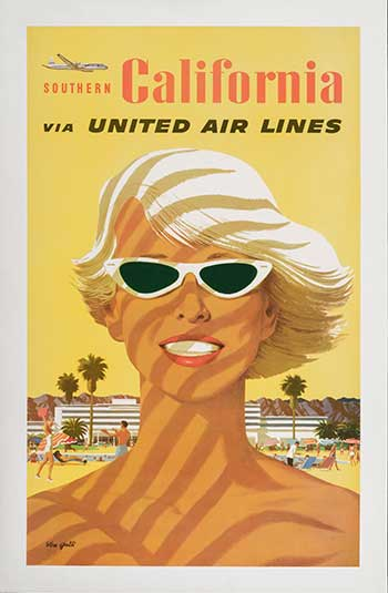 Stan Galli Southern California, 1960s Made for United Airlines, late 1950s Offset lithograph Image: 40 × 24 1/2 in. (101.6 × 62.2 cm) Gift of Martha and Bruce Karsh in honor of the museum's 50th anniversary Photo © Museum Associates/ LACMA