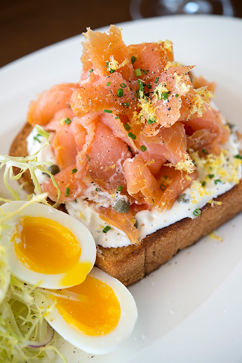 Smoked salmon brioche toast at The Ritz Prime Seafood Photo: Anne Watson