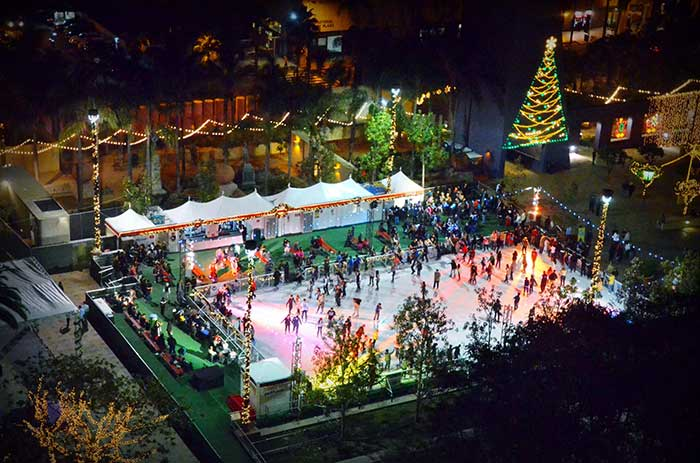 Pershing Square ice skating in Los Angeles