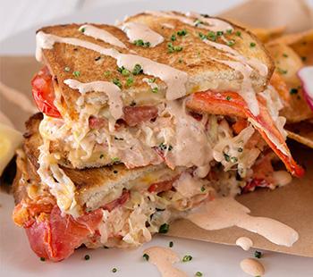 """Clobster"" sandwich at Slapfish"