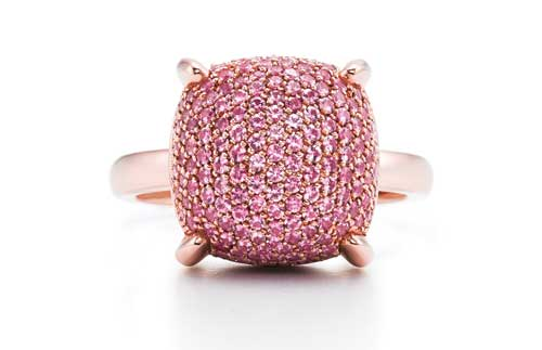 Paloma's Sugar Stacks ring in 18-karat rose gold with pink sapphires.