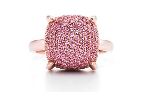 Paloma's Sugar Stacks ring in 18-karat rose gold with pink sapphires.