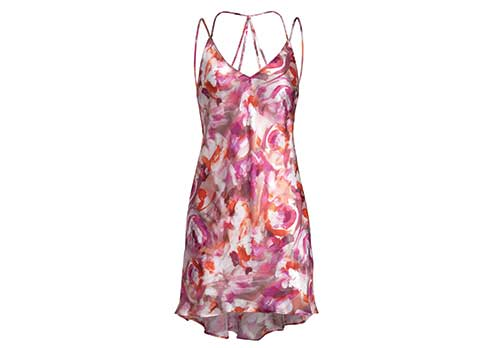 Naked Princess strap-back silk chemise in Amour print