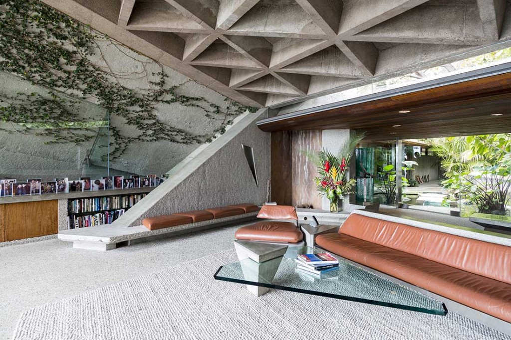 Built-in Lautner-designed furniture at the Sheats-Goldstein house