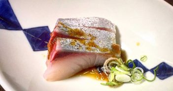 Amber jack with onion soy sauce