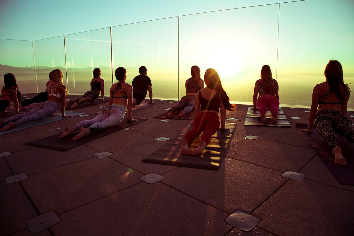 Skyspace La Slide >> Sunrise Yoga Series at OUE Skyspace LA