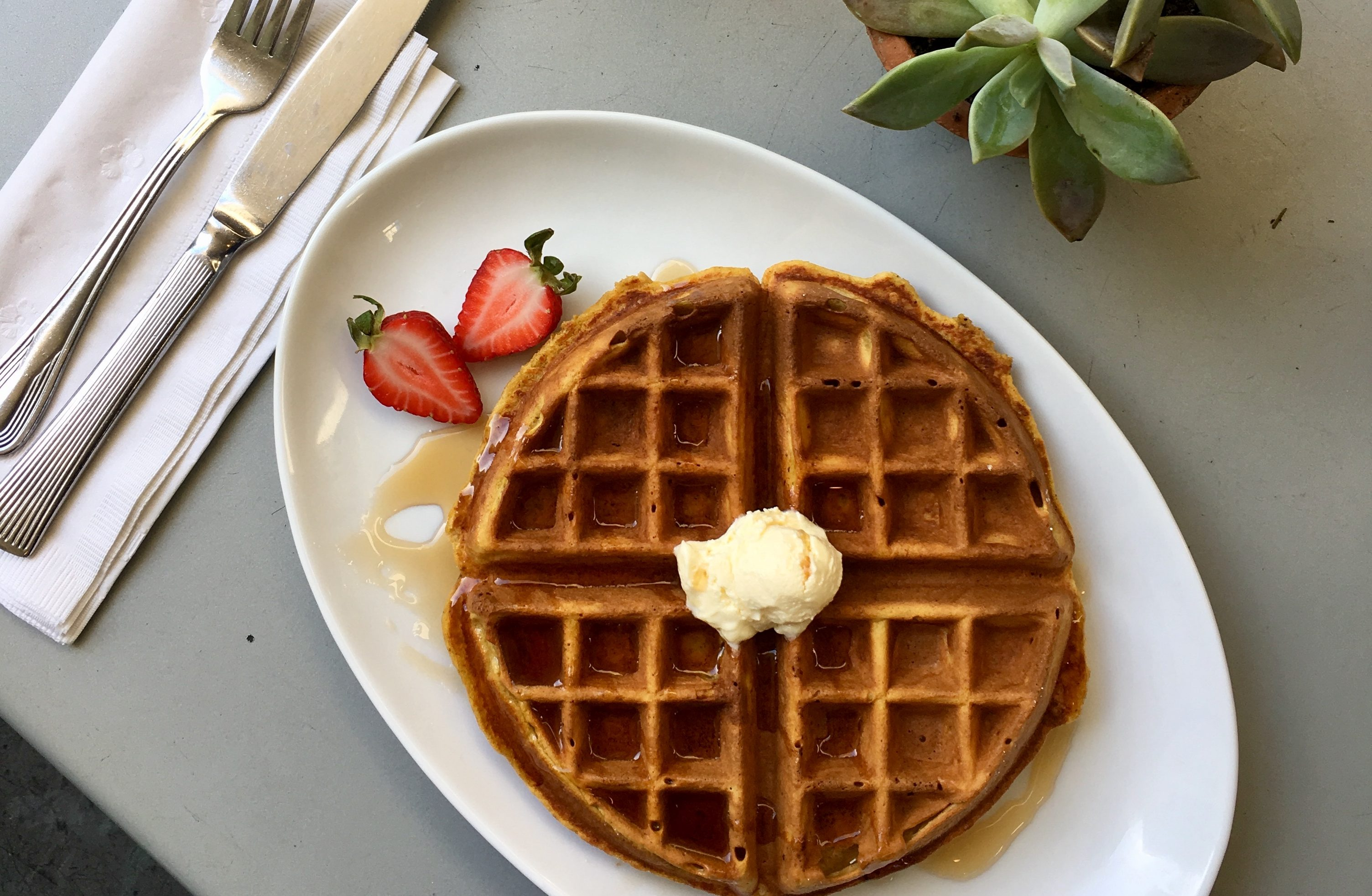 Celebrate Cafe 222s anniversary with their renowned pumpkin waffles.