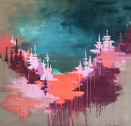 Yosemite Valley, Storm Light (Neon Creamsicle) Painting by Kim West