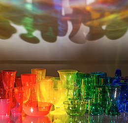 A Rainbow Like You, 2015, blown glass, acrylic, lighting, 33 x 57 x 37 in. Courtesy of the artist and Heller Gallery, New York.