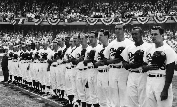 The Dodgers lineup on Opening Day at Dodger Stadium, April 10, 1962.