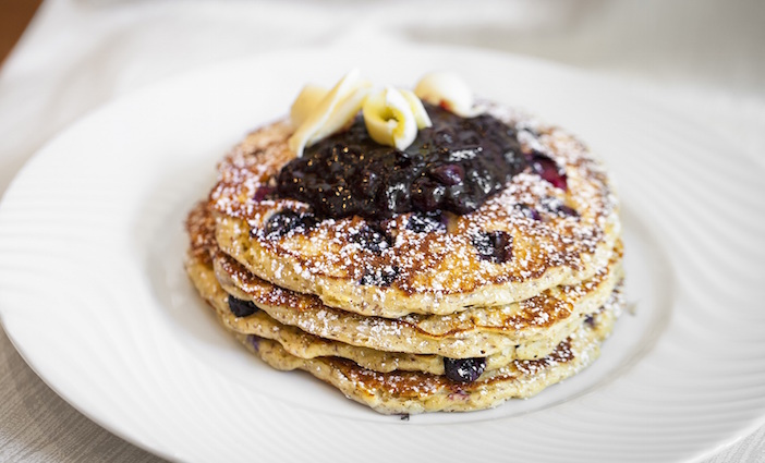 Buttermilk blueberry pancakes at The Belvedere
