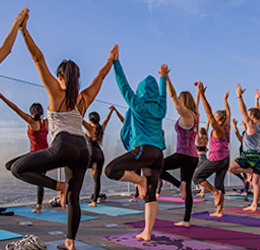 Yoga 1,000 Feet Above Downtown L.A.