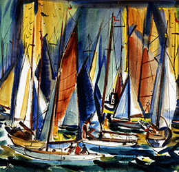 """Drawing on the Past - Works on Paper""_Sail Symphony artwork by Phil Dike"