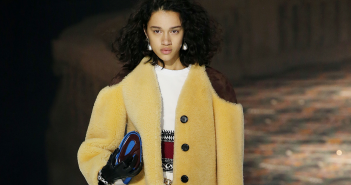 Short shearling coat at Louis Vuitton, South Coast Plaza