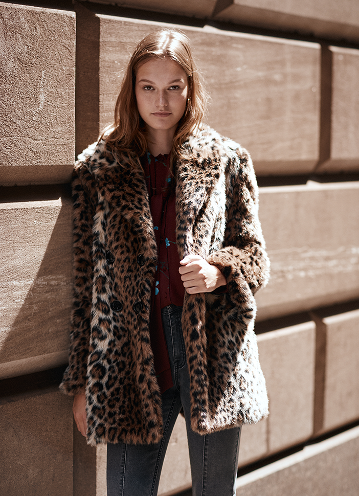 Faux-fur leopard coat at Joie, Fashion Island