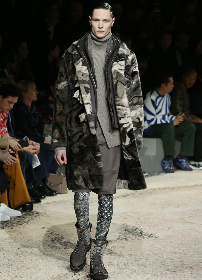 Landscape fur coat at Louis Vuitton, South Coast Plaza