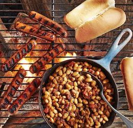 Hot Dogs with Quick Cast-Iron Beans photo by Brian Woodcock via Country Living