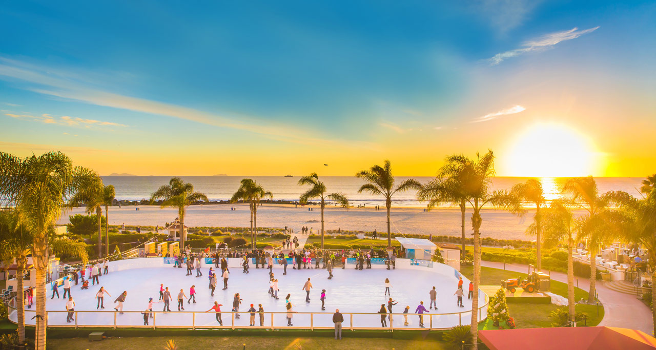 Head to Hotel Del Coronado for ice skating that overlooks the beach.
