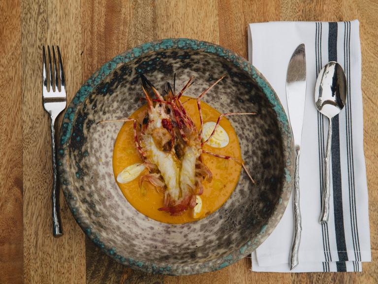 Spot prawn with tomato, quail egg and bottarga at Leviathan (photo by Alex Aristei)
