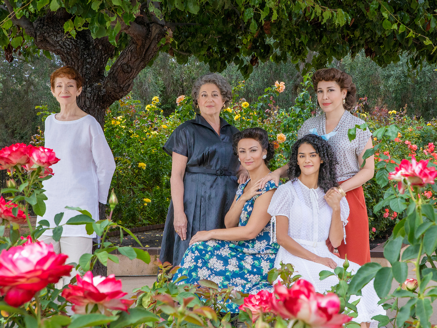 Carmen Roman appears as Older Anuncia, Mary Testa as Granmama, Eden Espinosa as Mamí, Kalyn West as Younger Anuncia, and Andréa Burns as Tía in The Gardens of Anuncia. Photo by Jim Cox.