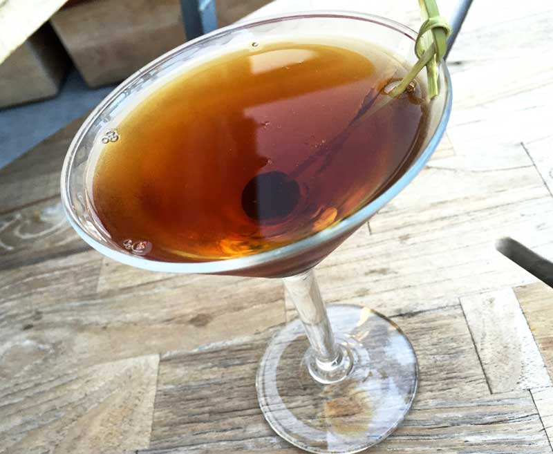 Little Italy with slow hand organic whiskey, Dolin rouge sweet vermouth, cynar, cherry.